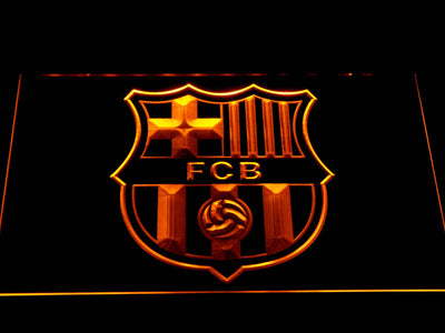 FC Barcelona Crest LED Neon Sign - Yellow - SafeSpecial
