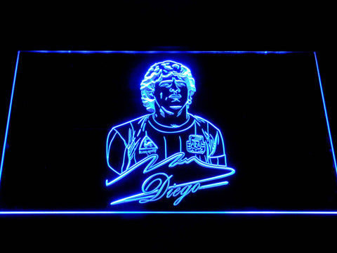 Image of FC Barcelona Diego Maradona LED Neon Sign - Blue - SafeSpecial