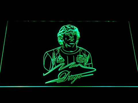 Image of FC Barcelona Diego Maradona LED Neon Sign - Green - SafeSpecial