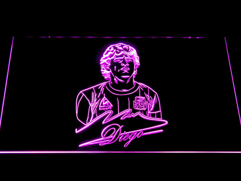 Image of FC Barcelona Diego Maradona LED Neon Sign - Purple - SafeSpecial