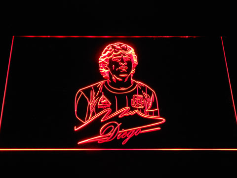 Image of FC Barcelona Diego Maradona LED Neon Sign - Red - SafeSpecial