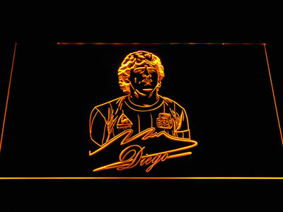 FC Barcelona Diego Maradona LED Neon Sign - Yellow - SafeSpecial