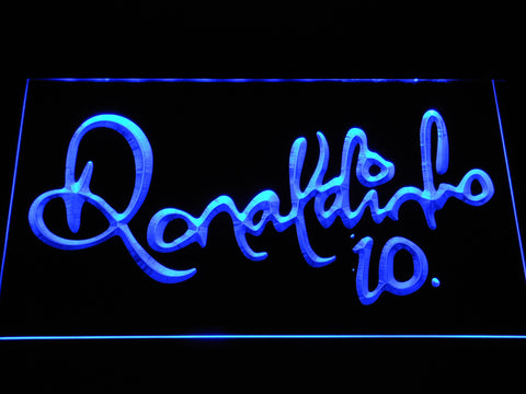 Image of FC Barcelona Ronaldinho Signature LED Neon Sign - Blue - SafeSpecial