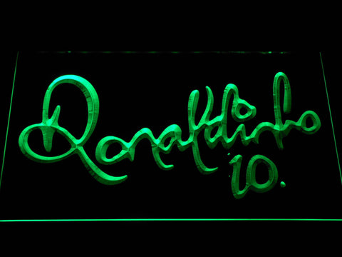 Image of FC Barcelona Ronaldinho Signature LED Neon Sign - Green - SafeSpecial
