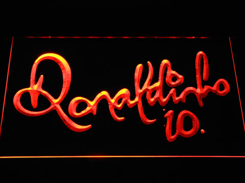 Image of FC Barcelona Ronaldinho Signature LED Neon Sign - Orange - SafeSpecial