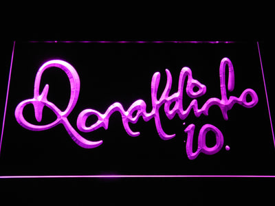FC Barcelona Ronaldinho Signature LED Neon Sign - Purple - SafeSpecial