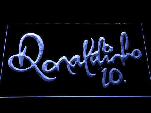 Image of FC Barcelona Ronaldinho Signature LED Neon Sign - White - SafeSpecial