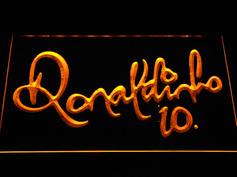 Image of FC Barcelona Ronaldinho Signature LED Neon Sign - Yellow - SafeSpecial