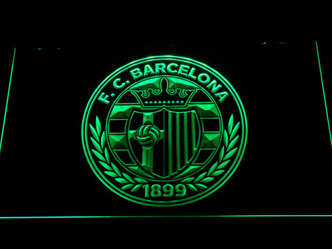 FC Barcelona Shield Crest LED Neon Sign - Legacy Edition - Green - SafeSpecial