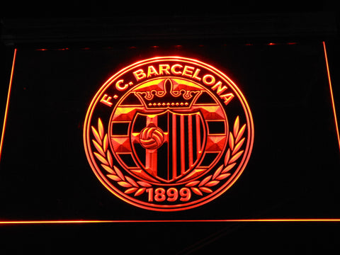 FC Barcelona Shield Crest LED Neon Sign - Legacy Edition - Orange - SafeSpecial