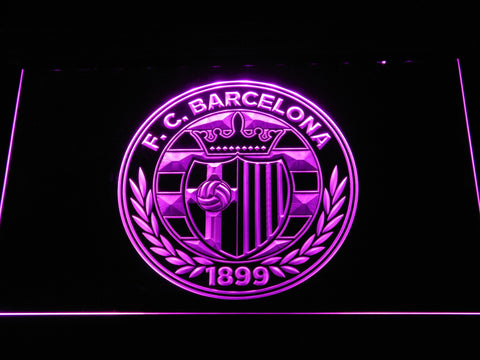 FC Barcelona Shield Crest LED Neon Sign - Legacy Edition - Purple - SafeSpecial