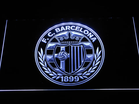 FC Barcelona Shield Crest LED Neon Sign - Legacy Edition - White - SafeSpecial