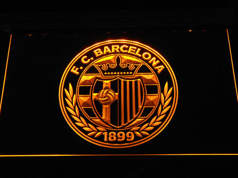 FC Barcelona Shield Crest LED Neon Sign - Legacy Edition - Yellow - SafeSpecial