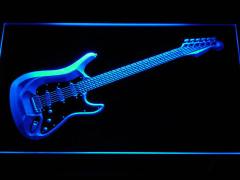 Image of Fender Stratocaster LED Neon Sign - Blue - SafeSpecial