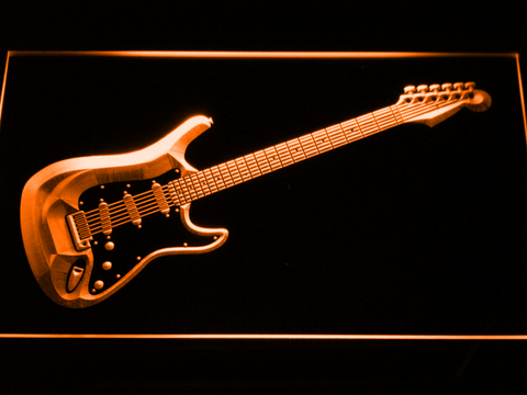 Image of Fender Stratocaster LED Neon Sign - Orange - SafeSpecial
