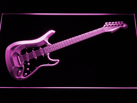 Image of Fender Stratocaster LED Neon Sign - Purple - SafeSpecial