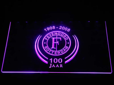 Feyenoord Rotterdam 1908- 2008 LED Neon Sign - Purple - SafeSpecial