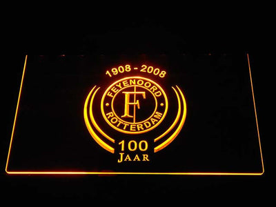 Feyenoord Rotterdam 1908- 2008 LED Neon Sign - Yellow - SafeSpecial