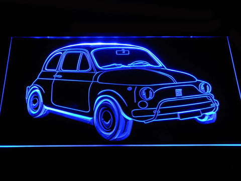 Image of Fiat 500 LED Neon Sign - Blue - SafeSpecial