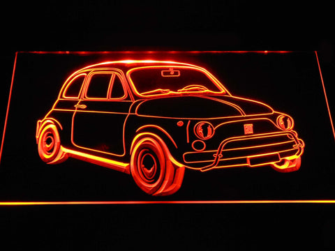 Image of Fiat 500 LED Neon Sign - Orange - SafeSpecial