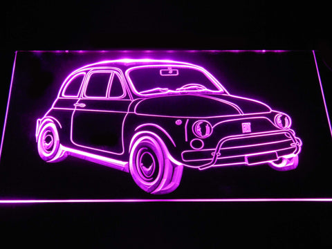 Image of Fiat 500 LED Neon Sign - Purple - SafeSpecial