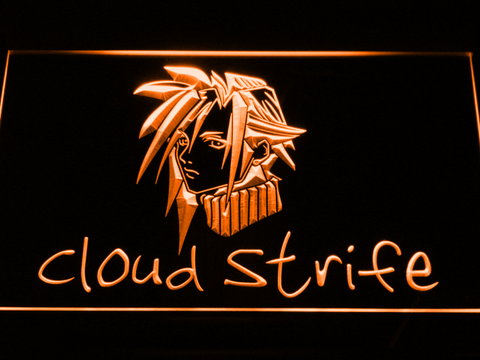 Image of Final Fantasy Cloud Strife LED Neon Sign - Orange - SafeSpecial