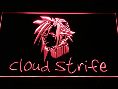 Image of Final Fantasy Cloud Strife LED Neon Sign - Red - SafeSpecial