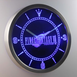 Final Fantasy VII LED Neon Wall Clock - Blue - SafeSpecial