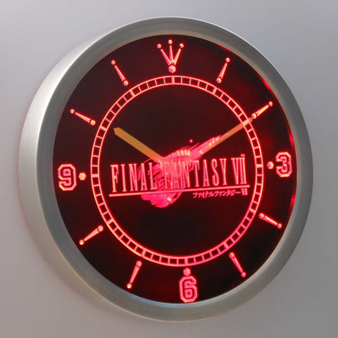 Final Fantasy VII LED Neon Wall Clock - Red - SafeSpecial