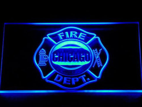 Image of Fire Department Chicago LED Neon Sign - Blue - SafeSpecial