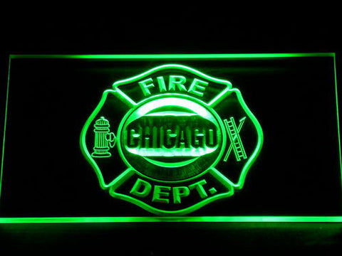 Image of Fire Department Chicago LED Neon Sign - Green - SafeSpecial
