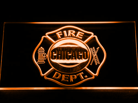 Image of Fire Department Chicago LED Neon Sign - Orange - SafeSpecial