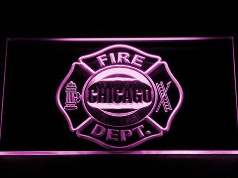 Image of Fire Department Chicago LED Neon Sign - Purple - SafeSpecial