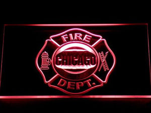 Fire Department Chicago LED Neon Sign - Red - SafeSpecial
