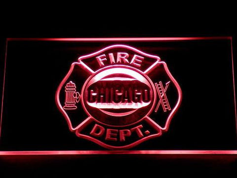 Image of Fire Department Chicago LED Neon Sign - Red - SafeSpecial