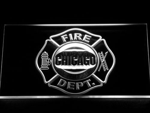 Image of Fire Department Chicago LED Neon Sign - White - SafeSpecial