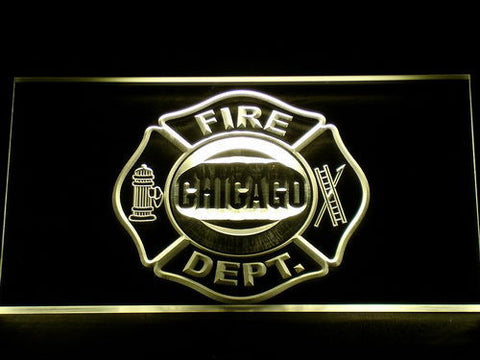 Fire Department Chicago LED Neon Sign - Yellow - SafeSpecial