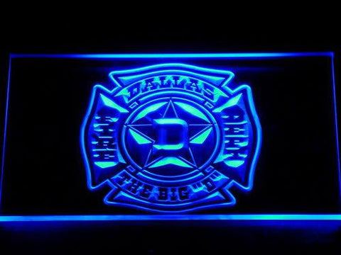 Fire Department Dallas LED Neon Sign - Blue - SafeSpecial