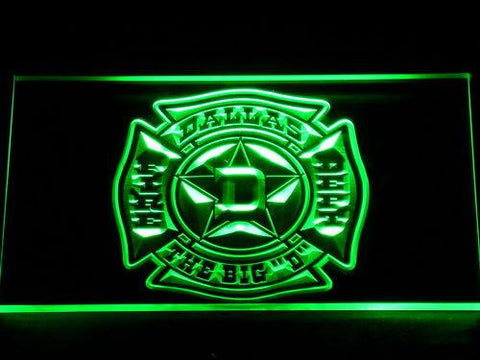 Image of Fire Department Dallas LED Neon Sign - Green - SafeSpecial