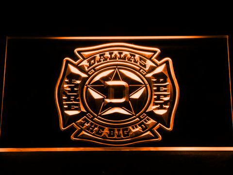 Fire Department Dallas LED Neon Sign - Orange - SafeSpecial