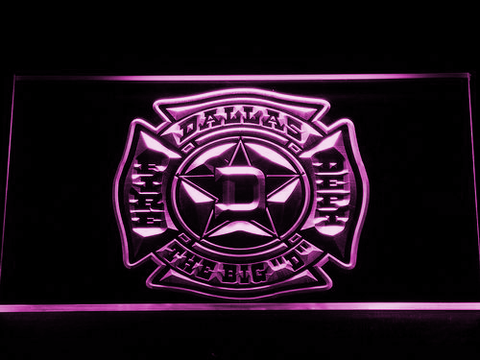 Image of Fire Department Dallas LED Neon Sign - Purple - SafeSpecial