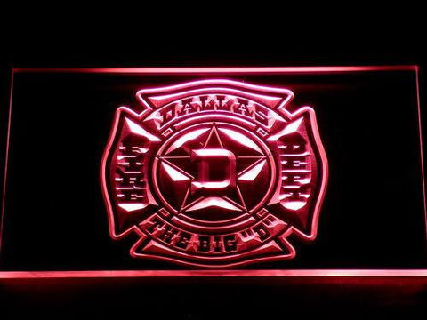 Image of Fire Department Dallas LED Neon Sign - Red - SafeSpecial