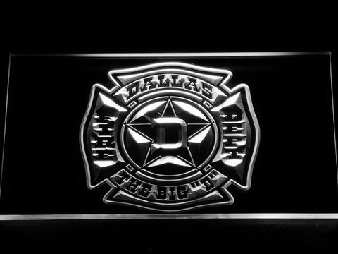 Image of Fire Department Dallas LED Neon Sign - White - SafeSpecial