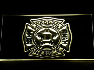 Fire Department Dallas LED Neon Sign - Yellow - SafeSpecial