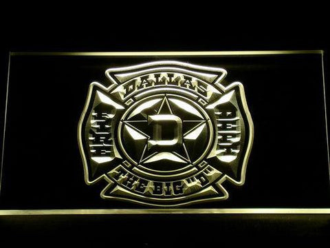 Image of Fire Department Dallas LED Neon Sign - Yellow - SafeSpecial