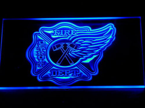 Image of Fire Department Detroit LED Neon Sign - Blue - SafeSpecial