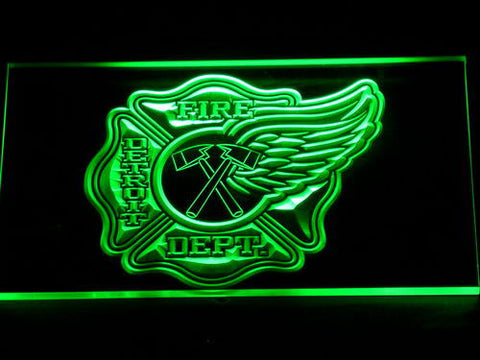 Image of Fire Department Detroit LED Neon Sign - Green - SafeSpecial
