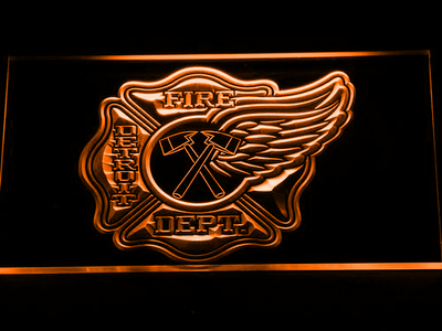 Fire Department Detroit LED Neon Sign - Orange - SafeSpecial