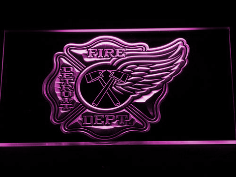 Image of Fire Department Detroit LED Neon Sign - Purple - SafeSpecial