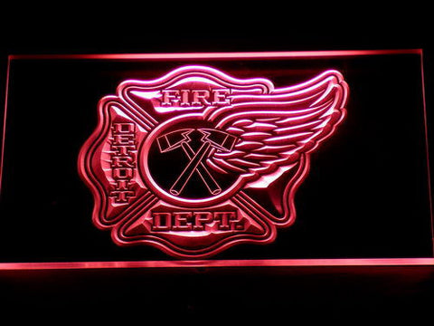 Image of Fire Department Detroit LED Neon Sign - Red - SafeSpecial